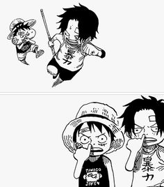 One piece. Luffy and Ace Manga Anime, Manga Art, Manga Drawing, One Piece Anime, Akuma No Mi, Ace Sabo Luffy, The Pirate King, Cartoon Sketches, Monkey D Luffy