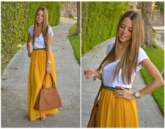 Style For Fashion: HOW THEY WEAR : YELLOW MAXI SKIRT....