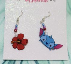 One of a Kind Hand Painted Earrings Lilo and Stitch Inspired Care: Do not wear in water or in shower. Shrink Paper, Mimi Boutique, Lilo And Stitch, Craft Supplies, Hand Painted, Drop Earrings, Beads, Unique Jewelry, Handmade Gifts