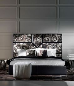 Neutral Toned rose motifs are perfect for the bedroom. Try the Springs Bed Interior Design Elements, Home Interior Design, Classic Interior, Modern Interior, Bedroom Furniture, Furniture Design, Bedroom Styles, Bed Design, Roberto Cavalli