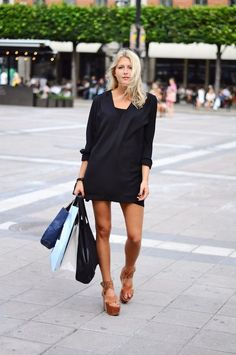 Simple dress with funky shoes