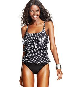 Miraclesuit Dot-Print Tiered Tankini Top & High-Waist Brief Bottom
