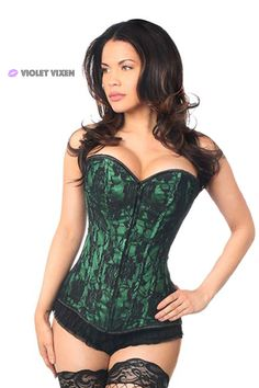 Full bust corset made of high quality satin with lace net overlay. Premium front zipper closure 10 plastic bones with 4 static steel back bones. Nickel brass grommets with thick cording in the back for cinching. Burlesque Corset, Sexy Corset, Overbust Corset, Sexy Lingerie, Lingerie Shoot, Green Lingerie, Babydoll Lingerie, Green Lace, Pink Lace