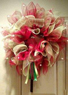Poinsettia red and green deco mesh wreath. Christmas wreath.