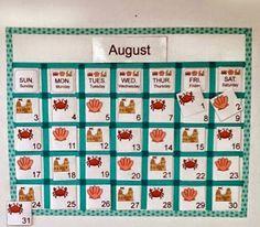 Calendar using 3 Dinosaurs printables. http://www.3dinosaurs.com/pdf/calendar/beach-cards-ABC.pdf