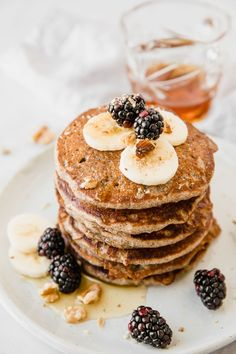 Fluffy, wholesome, sweet, and balanced, these Vegan Buckwheat Pancakes are the perfect combo of a healthy yet addicting breakfast! The delicate, nutty flavor of the buckwheat flour, combined with sweet fruit toppings makes this healthy vegan breakfast one you won't stop enjoying. Have this easy recipe ready to go in no time at all! Vegan Buckwheat Pancakes, Best Brunch Recipes, Healthy Vegan Breakfast, Vegan Blogs, Lemon Recipes, Other Recipes, Good Food, Easy Meals, Snacks