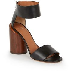 Givenchy 105MM Ankle-Strap Leather & Wood Sandals (2,040 BAM) ❤ liked on Polyvore featuring shoes, sandals, apparel & accessories, wooden sandals, wood shoes, wood heel shoes, leather sandals and ankle strap sandals