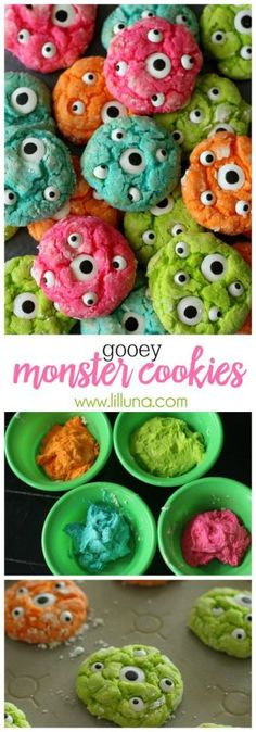 Halloween Party Treats Appetizers and Desserts Recipes - Gooey Delicious Monster. - Halloween Party Treats Appetizers and Desserts Recipes – Gooey Delicious Monster Cookies Recipe v - Halloween Cupcakes, Dessert Halloween, Halloween Party Treats, Theme Halloween, Halloween Goodies, Snacks Für Party, Holiday Treats, Happy Halloween, Halloween Snack Ideas