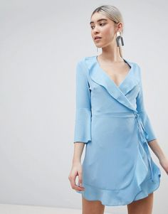 Outrageous Fortune | Outrageous Fortune Ruffle Wrap Dress With Fluted Sleeve