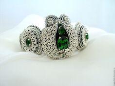 Купить Браслет, вышитый серебром, Зеленый Гранат - серебряный, серебряный браслет, гранат, браслет