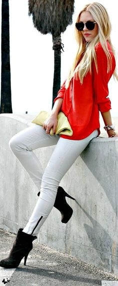 Red, White & Blonde Street Fashion...with awesome boots!    #streetfashion