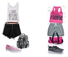 A fashion look from August 2015 featuring white shirt, shirt top and distressed shorts. Browse and shop related looks. Bowling, Victoria's Secret Pink, Victoria Secret, Vans, Gym, Shoe Bag, Nike, School, Polyvore