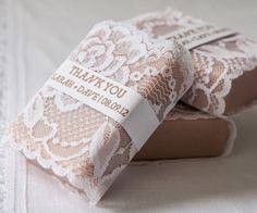 Lace Wrapped Scented Soaps.  Pretty and useful idea.  You could even make these into table or place cards putting guest's names on them!  Write Away For You calligraphy can help with that!  :-)  writeawayforyou.com