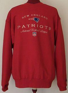 NFL New England Patriots Sweatshirt Red Size M Crew Neck Starter Brand Football #Starter #NewEnglandPatriots