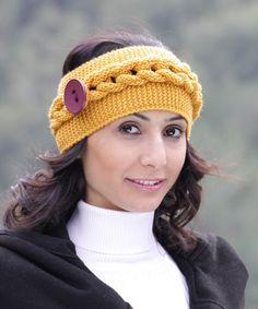 Womens knit headband in mustard, winter accessories, cowl neckwarmer, cable pattern