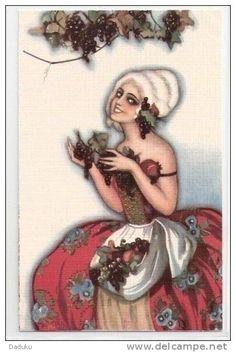 Chiostri Carlo, Mädchen, Fille, Trauben, Pigeons, Winzerin, Vigneronne, Litho, ca. 1920  ***63134