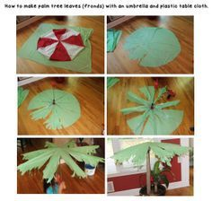 How to make palm tree leaves or fronds using an umbrella and a green plastic tablecloth. I used an old umbrella, separate the metal and used the rest to draw a shape on the plastic tablecloth. The metal part gives you a guide where to cut each leaf, I just used packing tape to attached the tablecloth to the metal structure. You can insert the umbrella into the carpet roll covered with brown lunch bags and have an easy fake palm tree to use for decorations :).