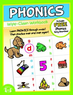 """Phonics Wipe-Clean Workbook    NEW Wipe-Clean books provide hours of learning and practice as skills can be drilled over and over again. Use dry erase markers for practice then a cloth to wipe the pages clean! Comes with a FREE song download to compliment the subject of the book.    11-Full Color Pages    Dimensions: 8"""" x 10.375""""  Product is meant for Ages 2 to 6  $3.99"""