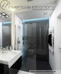 Projekt łazienki Inventive Interiors -podświetlona czarna mozaika w kabinie