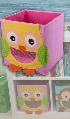 Here's a stylish storage option under $15! Turn clean up time into a fun game with this cheerful owl storage bin. It fits into most cubbie storage systems and folds flat when not in use. Get the whole set of animal themed bins, including monkey, ladybug, bumblebee, shark, & more!