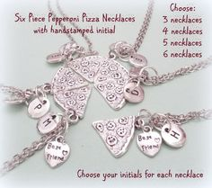 6 Best Friends Pizza Necklace Pepperoni Pizza by HopeisHipJewelry