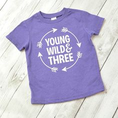 Do you know someone who is Young, Wild and Three? Then this shirt would be the perfect gift! This super soft shirt features a white design on shirt color of your choice. Need a different color than what you see here? We can make this shirt on a variety of colors. Please message us to inquire about custom colors or other available sizes. check out more great shirts at https://www.etsy.com/shop/shophartandsoul   ~~~~~~~~~~~~~~~~~~~~ Fit information ~~~~~~~~~~~~~~~~~~ This shirt fits true to…
