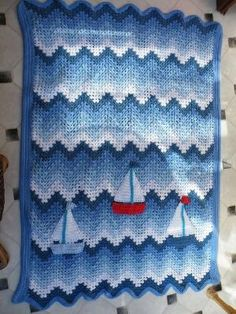 Boat Blanket/Afghan - Crochet granny ripple with added boats for good measure. by Moreen Hincks