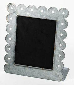 """11""""x 9"""" Weathered Square Metal Chalkboards with Scalloped Cut Edging - Wedding Chalkboard Rustic Signs with a Vintage Natural Look - Set of 2 with Attached Stand Whimsical Wonders,http://www.amazon.com/dp/B00A50T57E/ref=cm_sw_r_pi_dp_jcQrtb0MZ1SKM407"""