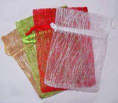 6 x 9 inch Sparkling Stripe Organza Bags Metallic Thread, Shower Favors, Organza Bags, Hostess Gifts, Gift Baskets, Wedding Favors, Sparkle, Create, Prints