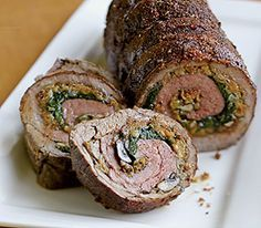 Spinach and Wild Mushrooms Stuffed Flank Steak Spirals - my mom used to make this.  i think i'll give it a try