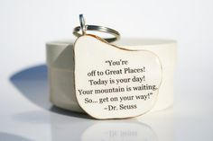 Dr Seuss key chain graduation gift grads going away gift graduation favors class of 2013 key fob key charm nature gift eco friendly via Etsy