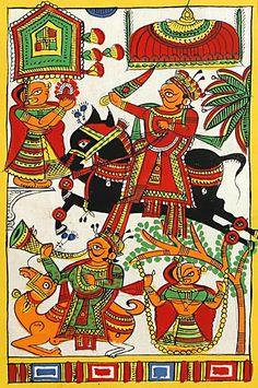 Rajput+Victory+Celebration+(Phad+Painting+on+Cloth+-+Unframed))+