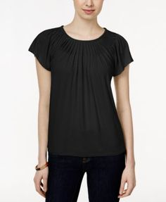 Style & Co. Pleated-Neck Top, Only at Macy's