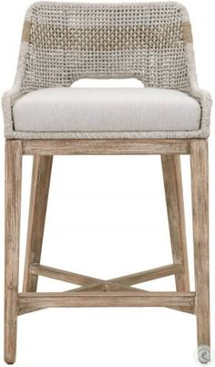 This woven counter stool will add a touch of coastal style to your kitchen. bar or dining room. Constructed with a stainless steel frame and solid mahogany legs. this stool is not only sturdy. but durable. A rich taupe and white colored rope is tight. Wicker Counter Stools, Woven Bar Stools, Counter Stools With Backs, Patio Bar Stools, Outdoor Stools, Counter Height Stools, Bar Counter, Grey Bar Stools, Modern Counter Stools