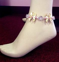 Breast Cancer Awareness Angel Wing Crystal Anklet with Gold Tone Awareness Ribbon - pinned by pin4etsy.com