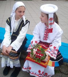 Bulgarian traditional Slavic costumes by region Bulgarian Language, The Shining, Eastern Europe, Headgear, Slovenia, Traditional Dresses, Christmas Sweaters, Ethnic, Arms