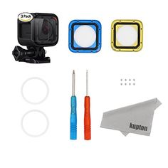 Kupton Accessories for GoPro Hero 4 SessionTempered Glass Screen Protector Lens Film (3 Pieces) + Lens Replacement Kit