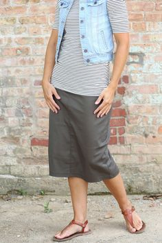 Lounge-N-Olive Skirt | Below Knee Twill Skirt Sizes 2-14: theskirtoutlet.com