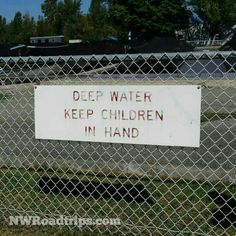 #WarningSign for #children at the #Winthrop National #FishHatchery. A really #fun stop in the #MethowValley. #fish #trout #beaver #sign