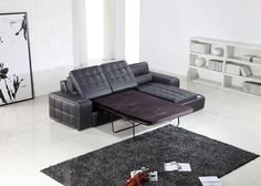 T225 Modern Black Leather Sectional w/ Pull-Out Sofa Bed