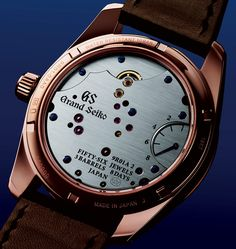 "Grand Seiko introduces a new rose gold version of their 8 Day Power Reserve Spring Drive SBGD202 timepiece. Featuring a special black dial with gold speckles created by a ""special process that combines both plating and painting."""