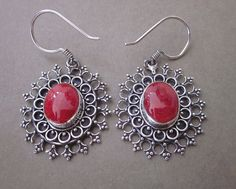 Unique Balinese Coral Silver Earrings #jewelry #Schmuck