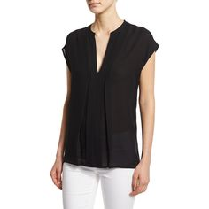 Vince Pintuck Popover Silk Top ($245) ❤ liked on Polyvore featuring tops, black, sweater pullover, vince tops, special occasion tops, cap sleeve top and cocktail tops