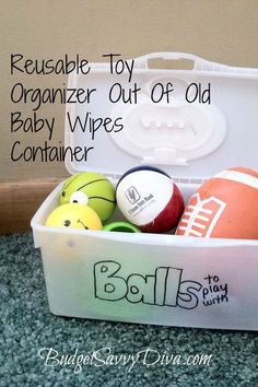 Reusable Toy Organizer Out Of Old Baby Wipes Container. this would be great if we used these kinds of wipes. Target brand has the pop top but its not reusable. Container Organization, Toy Organization, Organizing, Kid Toy Storage, Storage Boxes, Truck Storage, Baby Wipes Container, Fabric Softener Sheets, Kids Corner