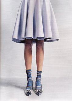 pastel skirt + printed socks & shoes