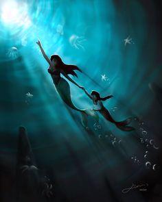 Ariel and Melody - disney-princess Fan Art