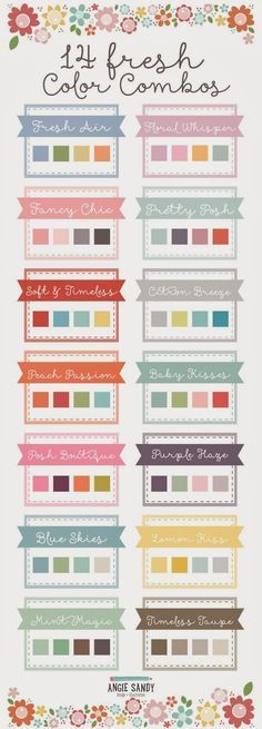 Another cool color palette. I might start picking out my own clothing color combinations if I use these, :-) 14 Fresh Color Palettes Colour Pallete, Colour Schemes, Color Patterns, Color Combinations, Nursery Color Schemes, Pastel Pallete, Peach Palette, Color Charts, Paint Schemes
