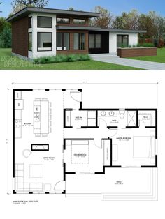 Fancy Small House Contemporary Design Ideas That Easy To Try 35 Small Modern House Plans, Modern Floor Plans, Contemporary House Plans, Contemporary Design, Bungalow House Design, Tiny House Design, Modern Small House Design, Sims House Plans, House Floor Plans