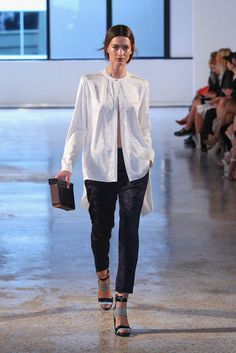 Spring Summer 2014/15 fashion trends - The New Shirt. Designers are getting a little more inventive, leaving shirts unbuttoned from the bottom (à la Alexander Wang Spring 2014), open at the back or cut with new, boxy shapes and cropped sleeves.  Shirt by Ginger & Smart SS 2014/15