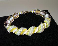 Yellow Spiral Beadwoven Bracelet, Cellini Spiral. $45.00, via Etsy.